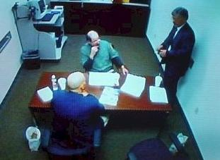 Dennis Rader was taken to an interrogation room after his arrest on February 25, 2005